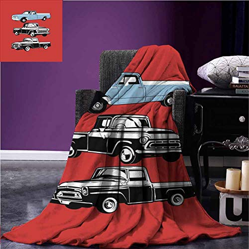 Truck Warm Blanket Vintage Pickup Vehicle Designs on Abstract Ruby Background Inner City Transport Blankets and Throws 70 x 93 Inch Ruby Blue White