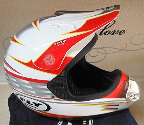 Wingsmarketshop FLY HELMETS Artco Design Adult Offroad Helmet Goggles Gloves Gear Combo DOT Motocross ATV Dirt Bike MX Red White Silver w/Cover Med ( M )