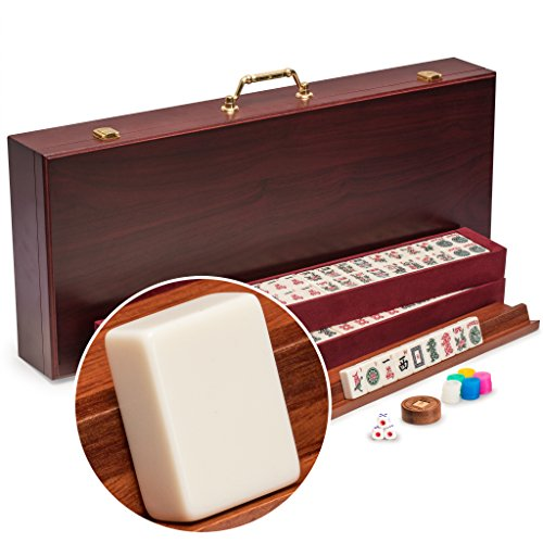 Yellow Mountain Imports American Mahjong Set, The Classic - Vintage Rosewood Veneer Case - 1930s Inspired Tiles Made of Scratch-Resistant Melamine - Pushers not Included (Coin Gold Dragon Set)