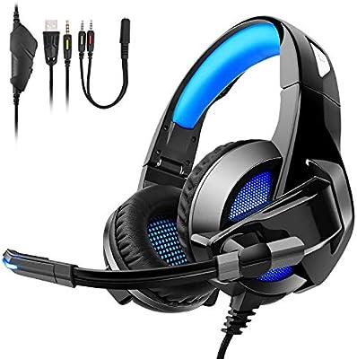 TENSWALL - Auriculares de Diadema para Juegos para PS4, con ...