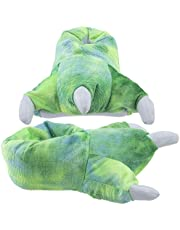 Wishpets Stuffed Animal Slippers - Soft Plush Toy Slippers for Kids and Adults - Green Dinosaur Claw Slippers