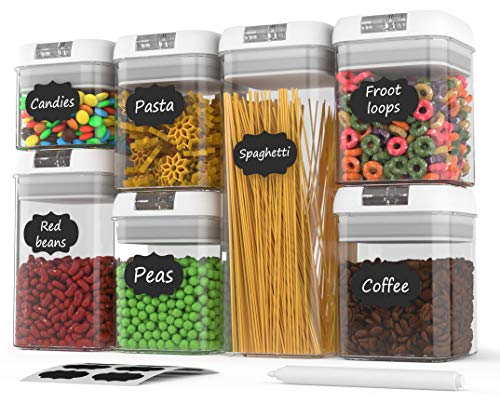 Airtight Food Storage Containers Airtight Container Set With Lids Food Storage Container Set Plastic Bpa Free 7 Piece Set Bonus 24 Labels With Marker Heavy Duty Dry Food Storage Container