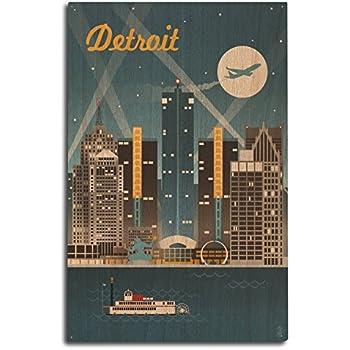 Lantern Press Detroit, Michigan - Retro Skyline (10x15 Wood Wall Sign, Wall Decor Ready to Hang)
