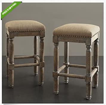 upholstered counter stools with backs this set backless linen elegant addition kitchen swivel arms