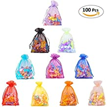 """Cloudyfocus 100Pcs Sheer Organza Bags - 5""""x 7"""", Drawstring Organza Pouches for Wedding Party Favor, Gift,Jewelry, Candy, Tulle Bags"""