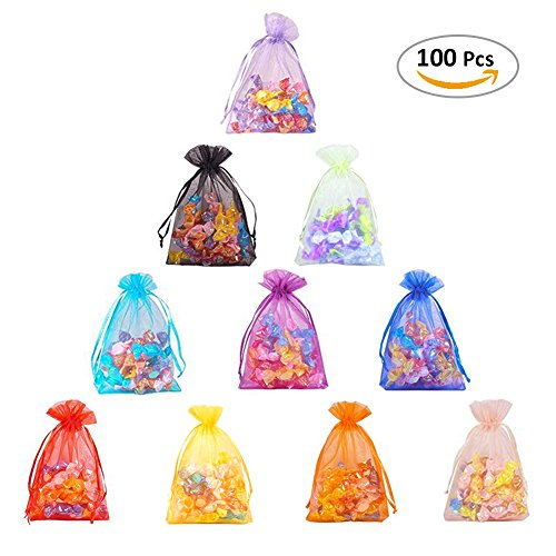 Cloudyfocus 5x7 inches Tulle Bags - 100Pcs Drawstring Organza Pouches for Wedding Party Favor, Jewelry, Candy, Sheer Organza Bags
