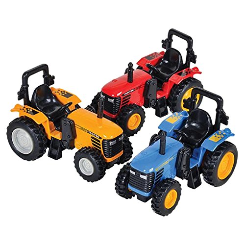 (Die Cast Pull-Back Monster Tractor, Pullback Farm Tractor, Pack of 3 Pullback Trucks, Huge Tractor inches, 3 Different Colors, By 4E's Novelty)