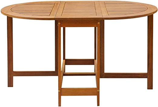 Amazon Com Festnight Outdoor Patio Large Dining Table Oval Drop Leaf Table Acacia Wood Kitchen Dining