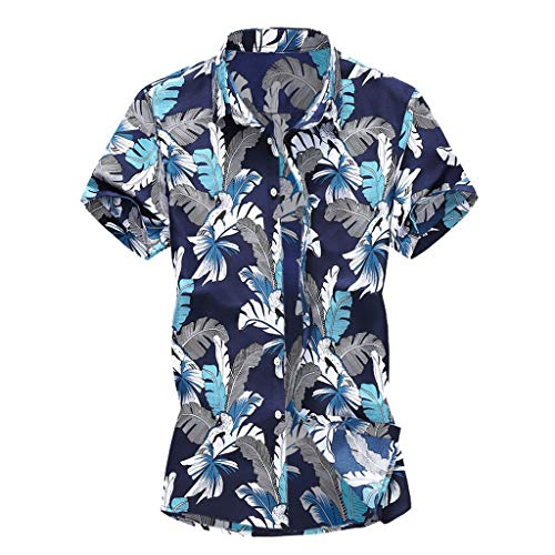 YKARITIANNA Summer New Men Casual Summer Printed Button Short Sleeve Hawaiian T-Shirt Top Blouse