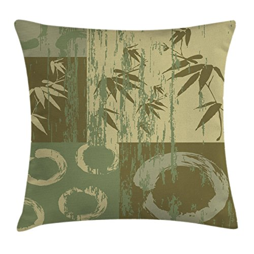 Bamboo Decorative Pillow (Nature Throw Pillow Cushion Cover by Ambesonne, Zen Circle and Bamboo Silhouette over Vintage Color Oriental Eastern Patchwork Art Print, Decorative Square Accent Pillow Case, 16 X 16 Inches, Green)