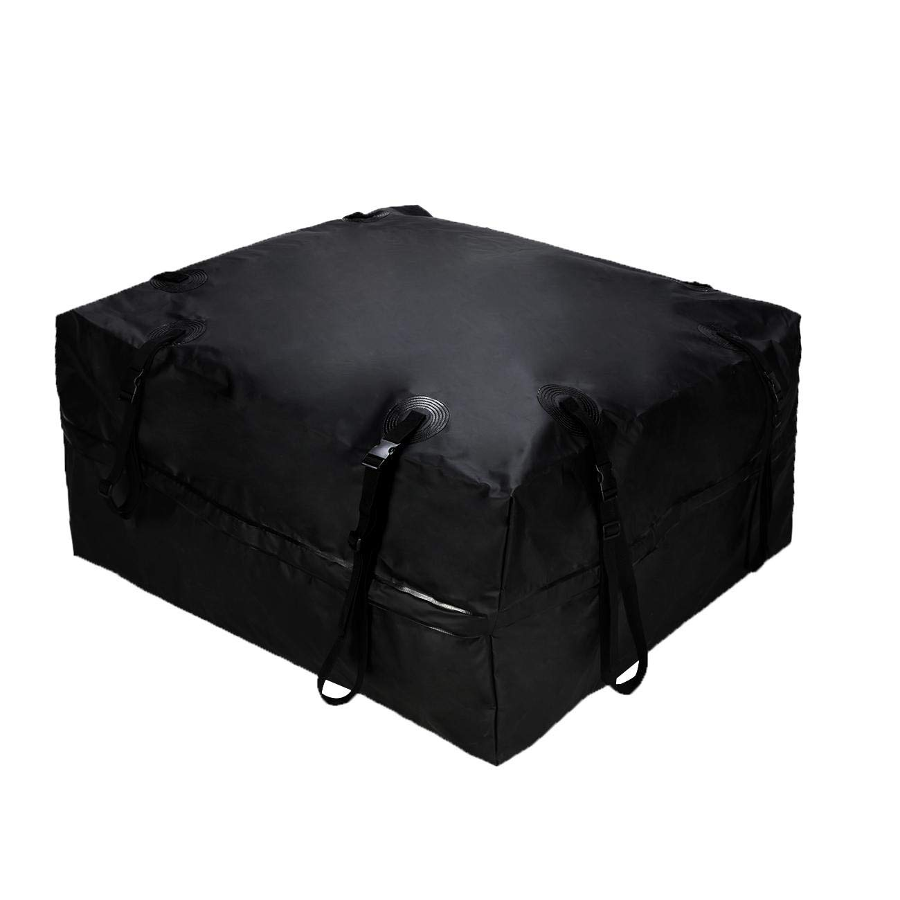 AUXMART Waterproof Rooftop Cargo Bag (15 cu. ft.) - Roof Top Soft Luggage Carrier for SUV/Van/Car (Straps to Roof Rack Crossbars or a Roof Basket)