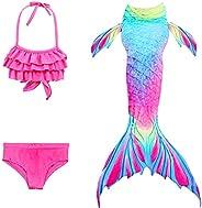 Kantenia Girls 4Pcs Swimsuit Mermaid Tail Princess Swimming Costume Bathing Suit Swimming Costume for Party Gi