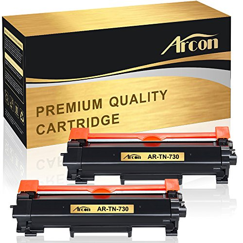 Arcon 2 Packs Compatible for Brother TN-730 TN730 TN760 Brother HL-L2350dw HL-L2395DW DCP-L2550DW MFC-L2750DW Toner Cartridge HL-L2390DW MFC L2710DW L2750DW MFC-L2750DWXL HL-L2370DW Printer -No Chip
