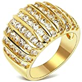 (Customized Ring)Adisaer Free Engraving Gold Plated Rings for Women Cubic Zirconia Septal Strip Size 6