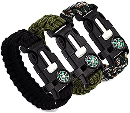 Black /& Army Green Liroyal Pack of Two Survival Bracelet Paracord Whistle Gear Flint Fire Starter Scraper Kits Outdoor