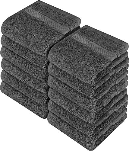 Utopia Towels – Luxury Washcloths Set 12 x 12 inches, Grey – 700 GSM 100% Cotton Premium Quality Flannel Face Cloths…
