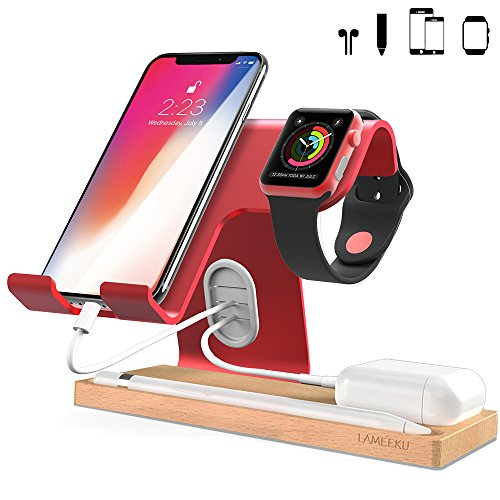 Apple Watch Stand, LAMEEKU Cell Phone Stand : Dock Cradle Holder For Apple Watch, all Smartphone, iPhone X 8 7 6 6s Plus, Nintendo Switch Airpods Apple Pencil iPad and Tablets - Red from LAMEEKU