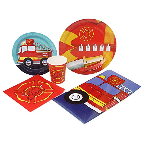 Blue Orchards Fire Truck Deluxe Party Packs (70 Pieces for 16 Guests!), Fireman Party Supplies -
