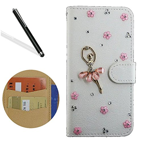 Leecase Creative Luxury Handmade 3D Diamond White Pink Dancing Girl PU Leather Magicic Book Wallet Flip Case Cover with ID Card Slots and Kickstand fo…
