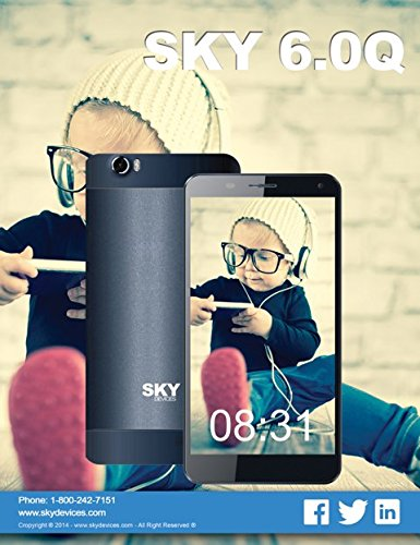 """Sky Devices 6.0Q GSM Unlocked 4G Android Smartphone 6"""" Display Dual SIM Quad Core 13MP 16GB Camera Cell Phone -  (Black)"""