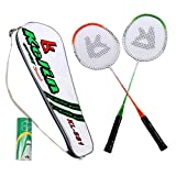 Cheap Kelin Badminton Rackets And Birdies, Badminton Racquets Set With 3 Nylon Shuttlecocks, Carrying Bag Included (Green/Orange)