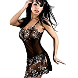 EasyBuy Tech™ Fashion Embroidery Nightwear Feminine See-through Lingerie Fabulous Dress for Women (XXXL)