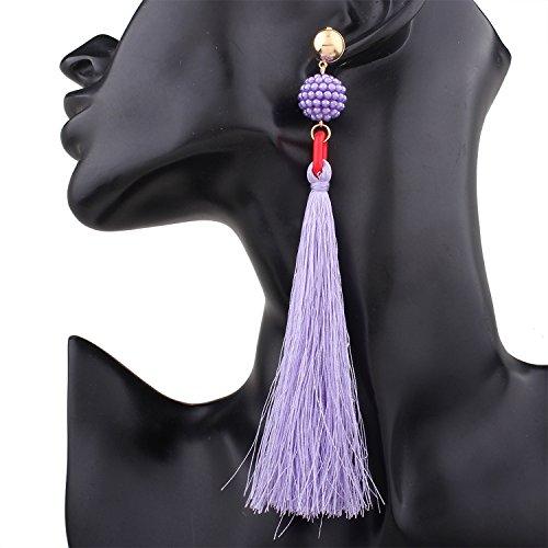 Jewelry Spinning Studs (earrings Beige Ball Earrings Long Tassel Stud Earrings)