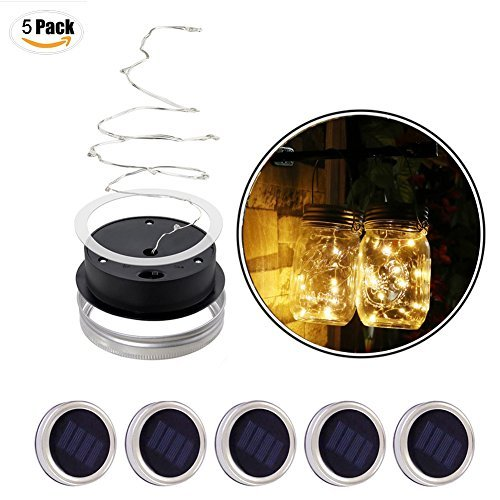 5 Pack Solar Mason Jar Lid Inset Light, Waterproof Solar Charged Lights Lid, Environmental Protection Outdoor Mason Fairy Light LED for Wedding Party Garden Lanterns - Warm Light