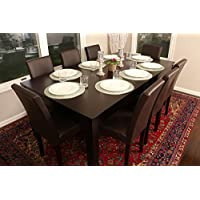 Formal 9 Piece - 8 Person Butterfly Extension Table 42 x 78 and Chairs Dining Dinette - 150250 Espresso Brown Leather Parson Chair