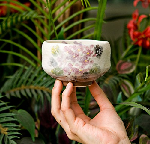 Authentic Japanese Traditional Tea Ceremony Matcha Bowl Chawan Textured Glaze Floral Design Handcrafted in Japan (Hydrangea)