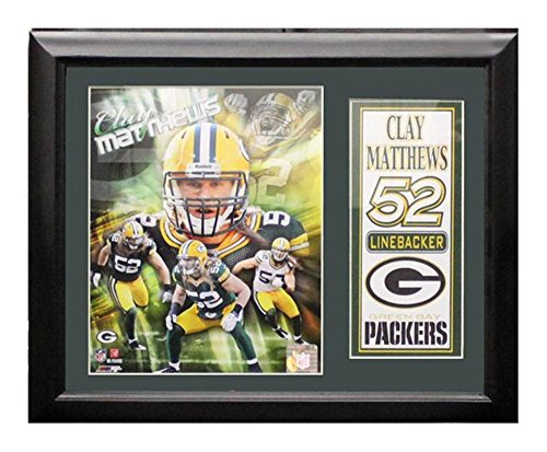 Encore Select 141-41 NFL Green Bay Packers Deluxe Frame Clay Matthews Print, 11-Inch by 14-Inch