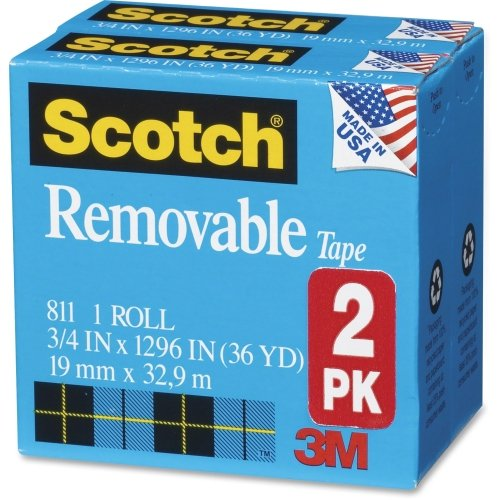 Scotch 8112PK Removable Tape 811 2PK, 3/4-Inch x 1296-Inch, 1-Inch Core, Transparent, 2/Pack