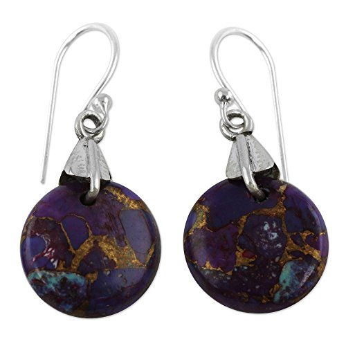 - NOVICA .925 Sterling Silver and Purple Reconstituted Turquoise Dangle Earrings, Moon of Enigma'