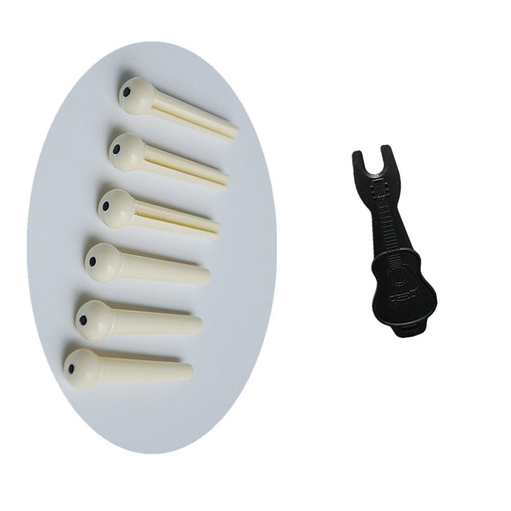 MUKEZON 6pcs White Acoustic Guitar Bridge Pins and Guitar Pin Puller (white) yubu