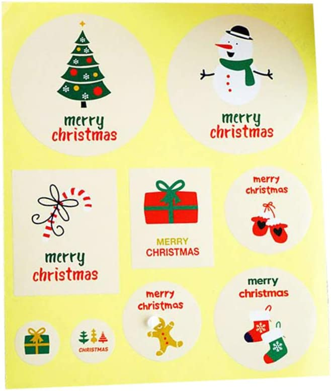 90pcs//10 Sheets Christmas Envelope Seal Sticker Gift Label Stickers Decorations