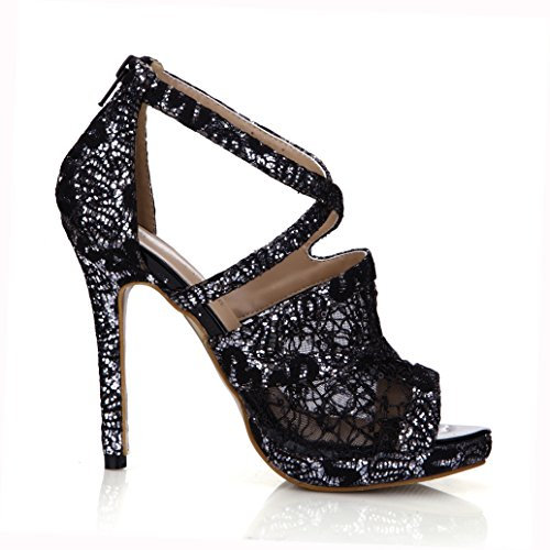 Dolphinbanana Sandalo In Pizzo Pumps Donna Peep Toe Dress Party Stiletto Scarpe Dolphin Prom Wedding Heels Prime Black