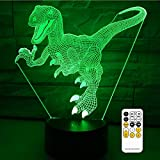 Night Light 7 Colors Changing with Remote Night Lights for Kids Room Décor or Perfect Gift for Kids by eTongtop (Dinosaur)
