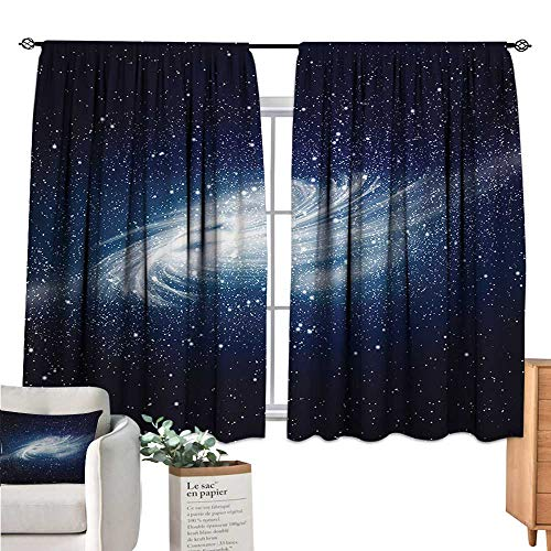 Unprecall Outer Space Blackout Curtains for Bedroom Spiral Galaxy Image Space and Stars Celestial Cosmos Expanse Universe Modern Navy White Curtain Holdback W55 x L39 (Screen Celestial Fireplace)