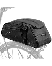 Bike Reflective Rack Bag, Water Resistant Bicycle Rear Seat Pannier Cargo Trunk Storage Cycling Carrier Chest Bag with 8L Capacity Multi Pocket Taillight Loop for Commuter Outdoor Traveling