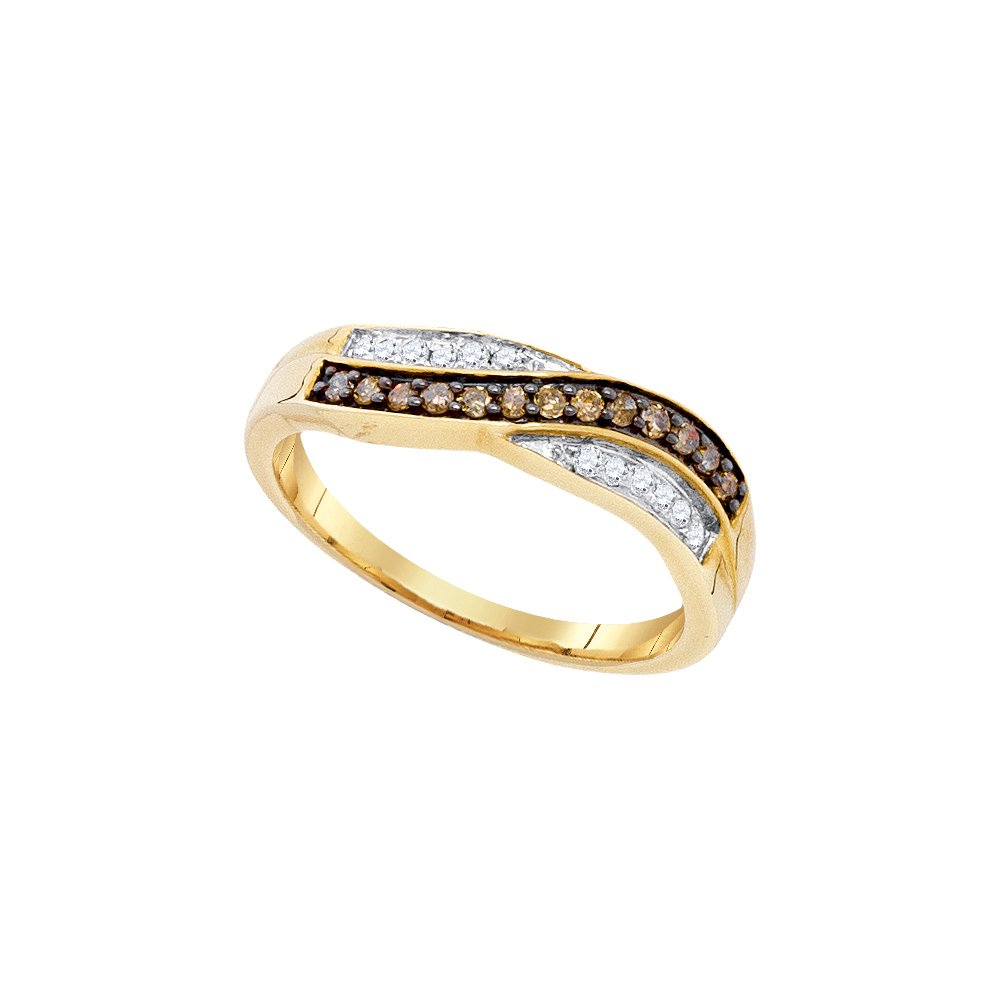 Size 8 - 10k Yellow Gold Round Chocolate Brown Diamond Band Ring (1/4 Cttw)