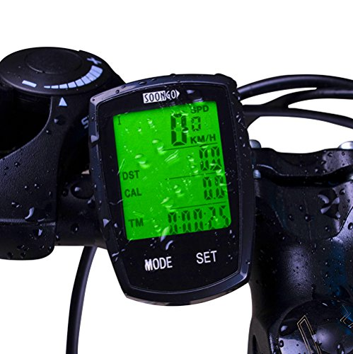 Bicycle Speedometer Wireless Cycling Computer with Cadence Bike Computer Odometer Speedometer Calories Counter, User A/B, Backlight, IPX6 Water Resistant etc 32 Functions for Biking Accessories by SOON GO