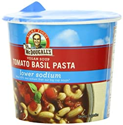 Dr. McDougall\'s Right Foods Vegan Tomato Basil Pasta Soup, Lower Sodium, 1.3-Ounce Cups (Pack of 6)