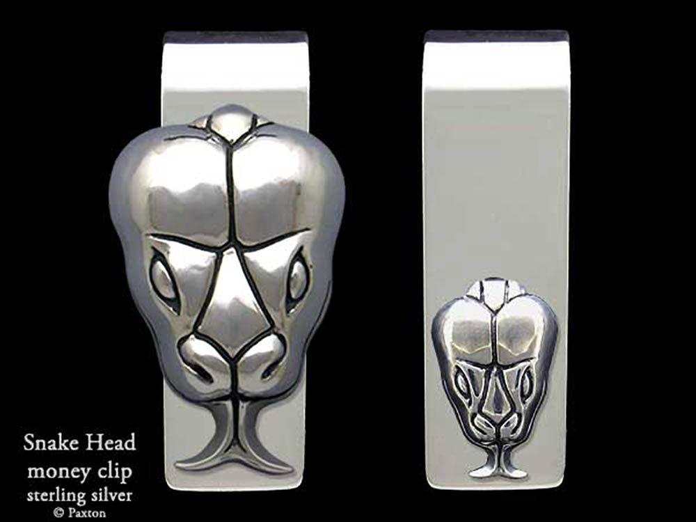 Snake Head Money Clip in Solid Sterling Silver Hand Carved, Cast & Fabricated by Paxton