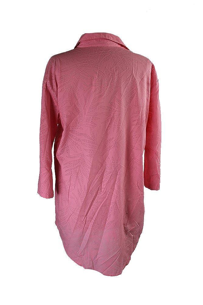 Alfani Pink //-Sleeve Burnout-Print Woven Sleepshirt S