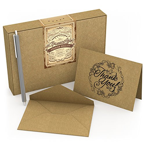 50 Count Krafty Thank You Cards with Envelopes & Free Pen: Best...
