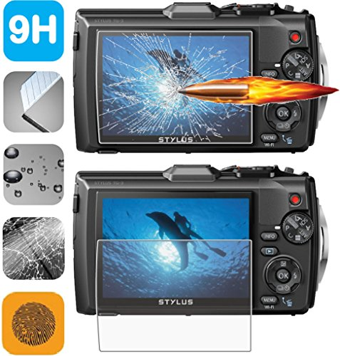 Vinyl Scratch Record Final (<Guarmor> Premium HD Tempered Glass LCD Screen Protector Guard for Olympus Tough TG-3 TG-4 iHS Digital Camera)