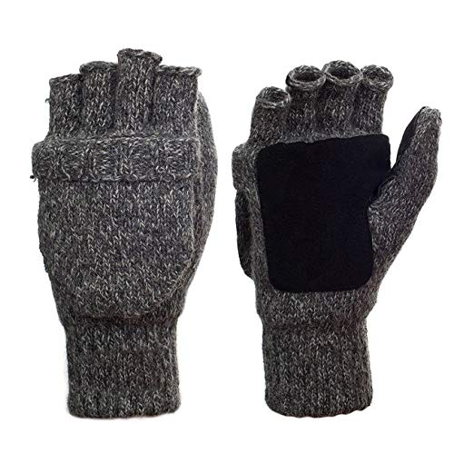 Hand Crocheted Wool - Metog 3M Thinsulate The Sentry Mittens/gloves Black Tweed M