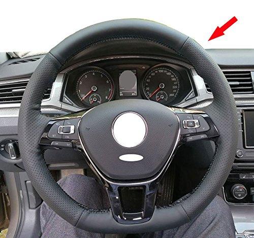 Eiseng DIY Genuine Black Leather Steering Wheel Cover for 2017 2016 2015 Volkswagen VW Jetta Sedan Hybrid Passat e-Golf Golf Sportwagen 2018 Tiguan Atlas Accessories Black thread