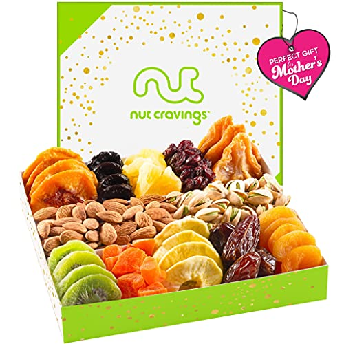 Mothers Day Dried Fruit & Nut Gift Basket in White Box (12 Piece Assortment) - Prime Arrangement Platter, Birthday Care Package Variety, Healthy Food Kosher Snack Tray for Mom, Women, Men, Adults
