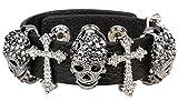 Angel Jewelry Women's Black Leather Crystal Skull Cross Adjustable Bangle Bracelet Biker Jewelry
